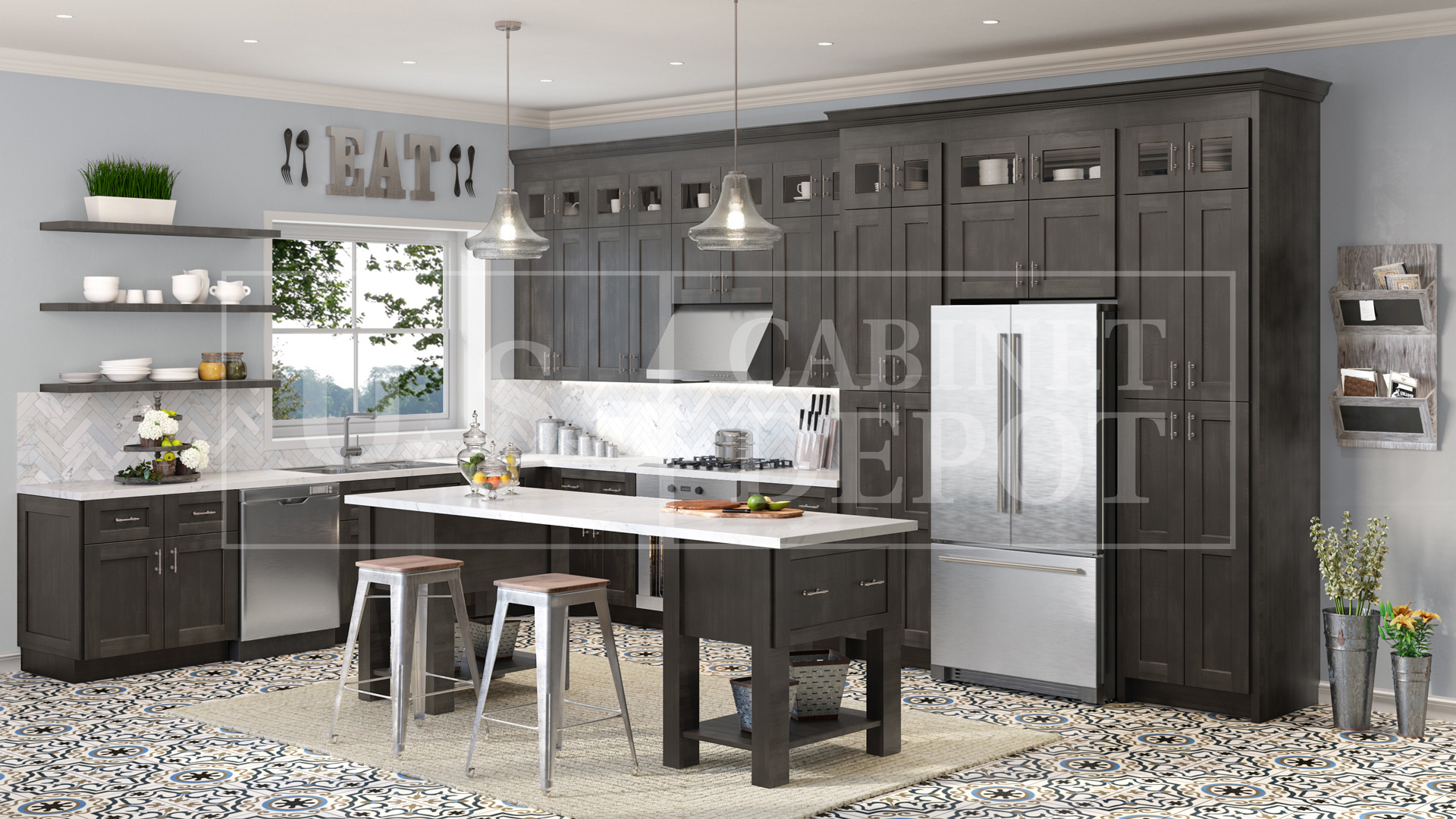dark charcoal color shaker style kitchen US Cabinet Depot